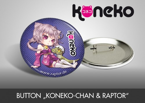 "Button ""Koneko-chan & Raptor"""