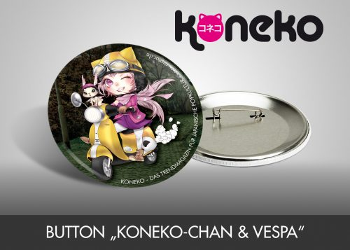 "Button ""Koneko-chan & Vespa"""